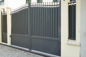 Dark gray aluminum fence