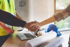Shaking hands with a contractor
