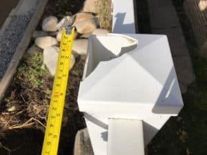 Damaged vinyl fence post