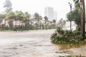 Flooded street during hurricane