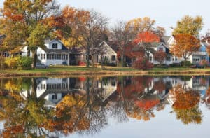 Neighborhood on a lake with fall foliage