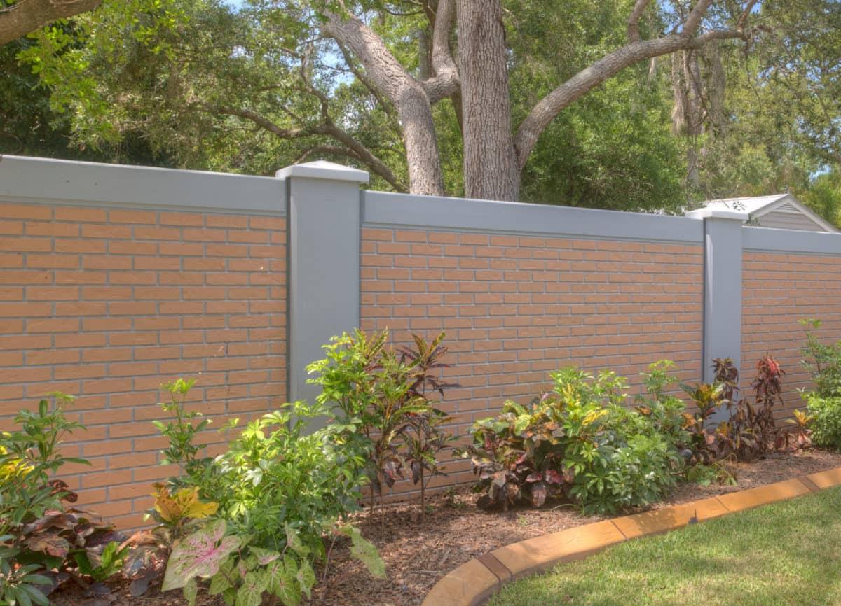 beige, sand-colored Permacast Precast Concrete Fence