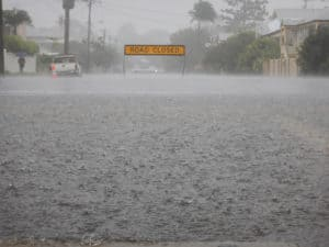 Flooded street from severe rain storm