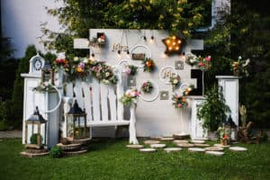 Unique decorations on outdoor wall for a wedding