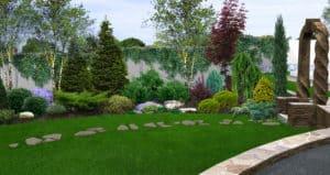 Beautiful backyard garden in front of concrete wall