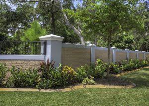 Permacast precast concrete fence looks like brick - Permafence