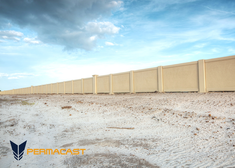 Precast concrete site wall by Permacast