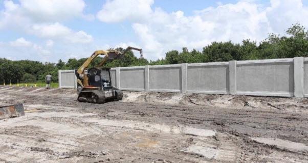 Permacast precast concrete fence installation