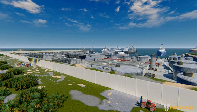 Vapor Barier Wall - LNG Port by Permacast