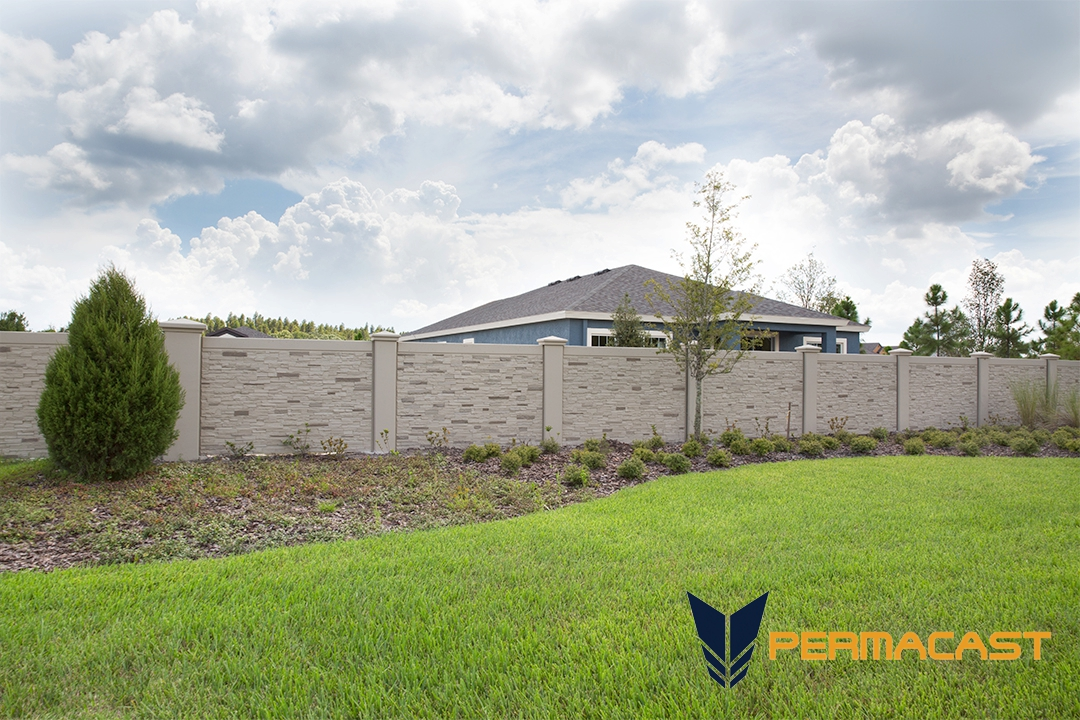 Precast concrete stone fence by Permacast