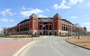 Globe Life Park in Arlington in Arlington, Texas where the Texas Rangers baseball team play